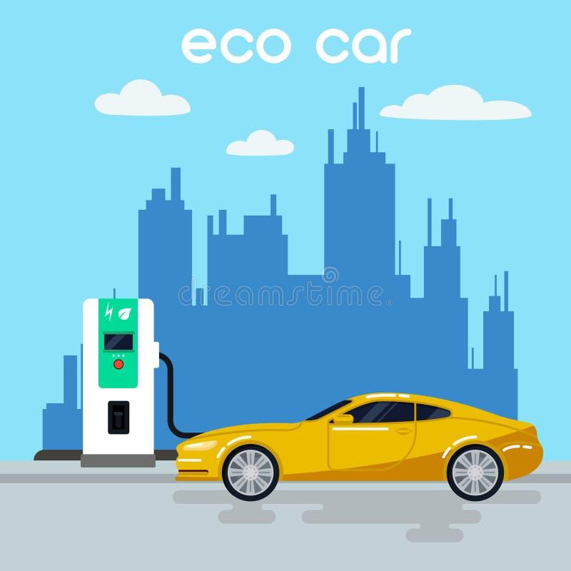 samochód elektryczny Eco samochód na Ładuje staci royalty ilustracja