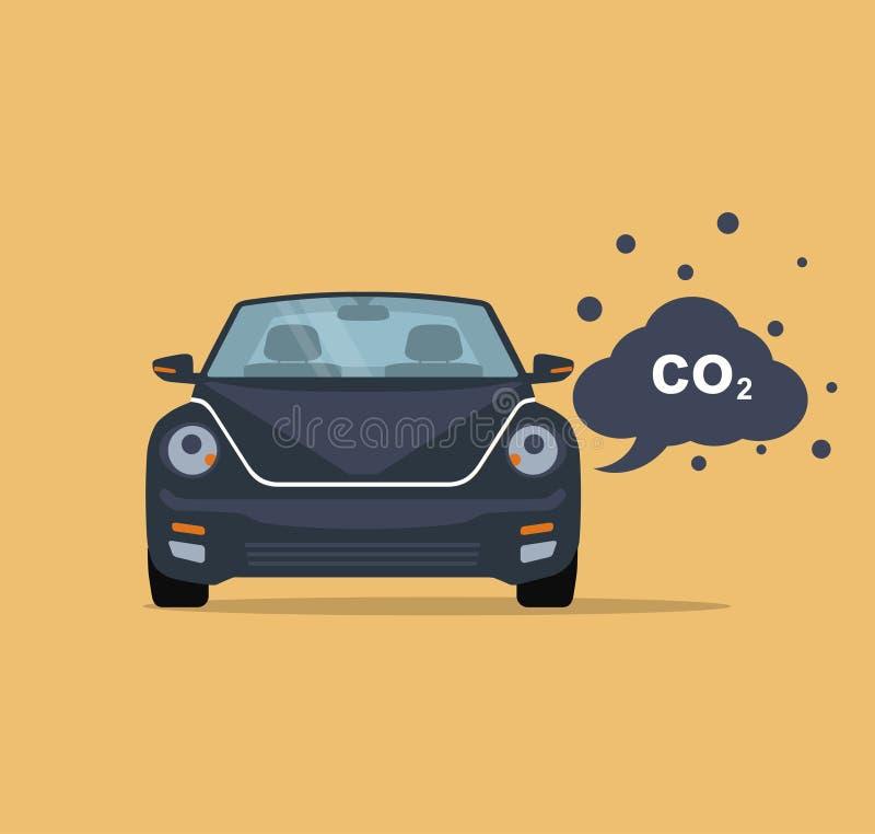 Samochód emituje dwutlenek węgla Mieszkanie styl ilustracji