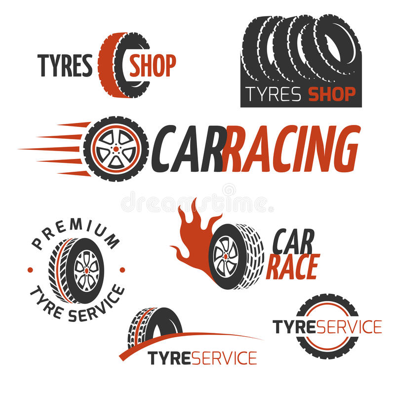 Samochód gumowej opony sklep, samochodowy koło, bieżni wektorowi logowie i etykietki ustawiający, royalty ilustracja