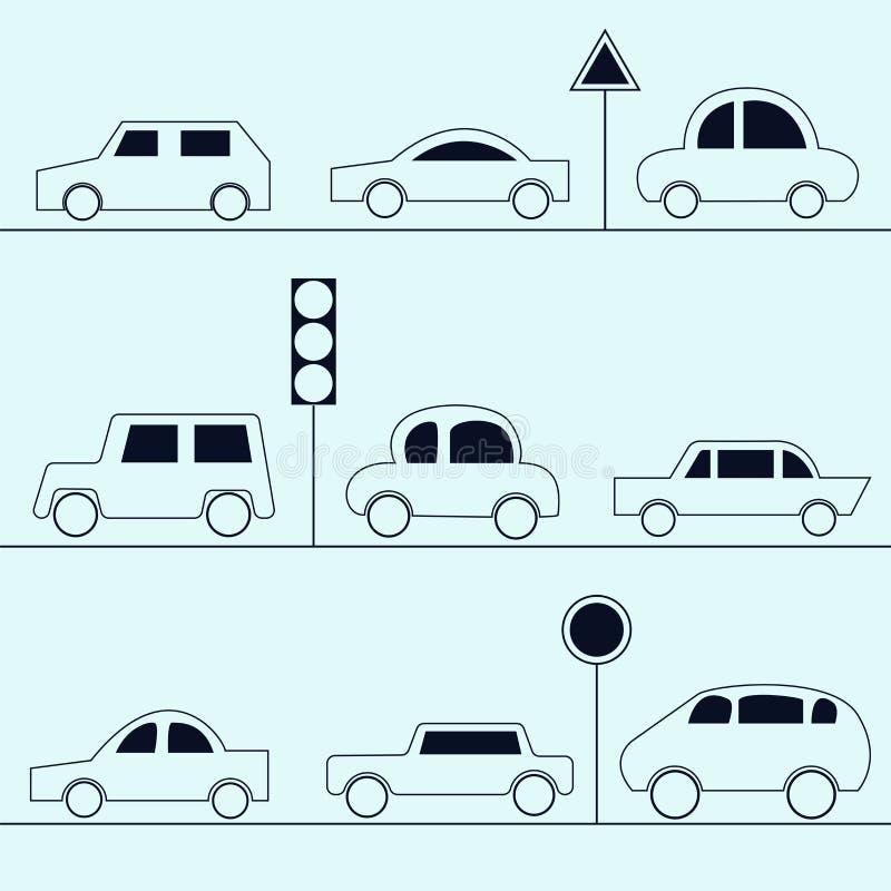 Samochód ikony Kolekcja samochody w konturu stylu royalty ilustracja