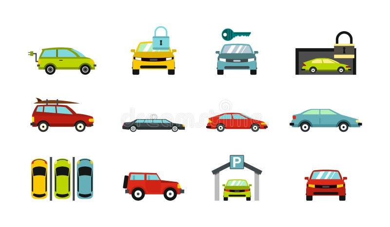Samochód ikony set, mieszkanie styl ilustracja wektor