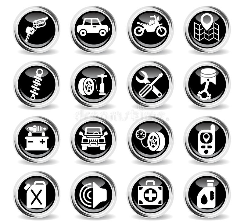 Samochód ikony sklepowy set ilustracja wektor