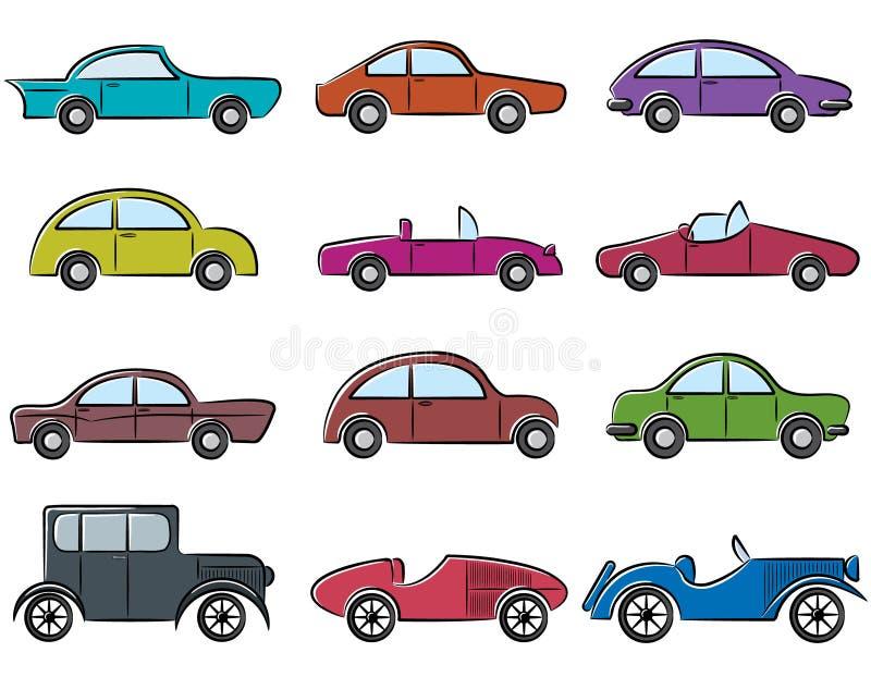 samochód ikony ustawiają rocznika ilustracja wektor