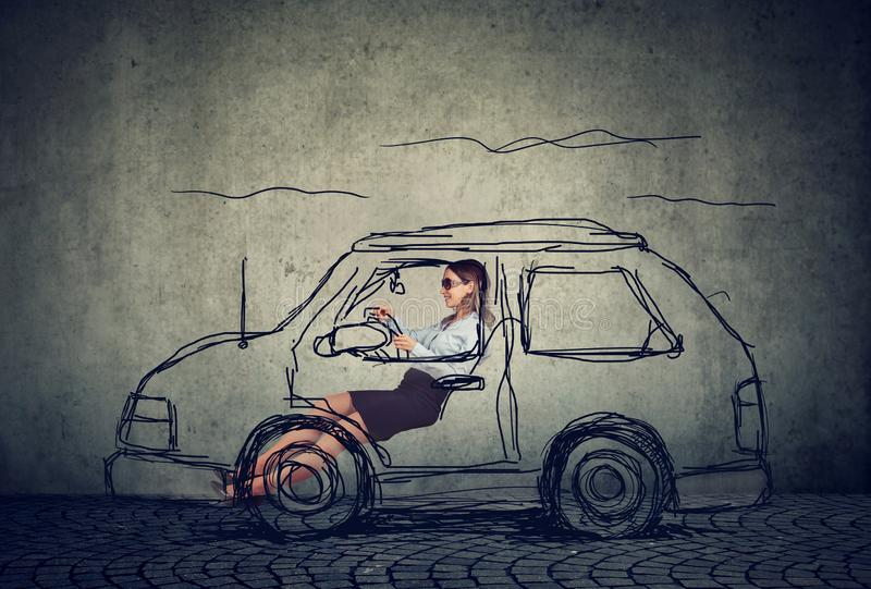 samochód kobiety jazdy young obraz stock