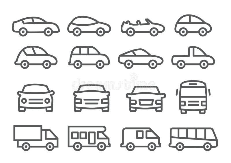 Samochód Kreskowe ikony royalty ilustracja