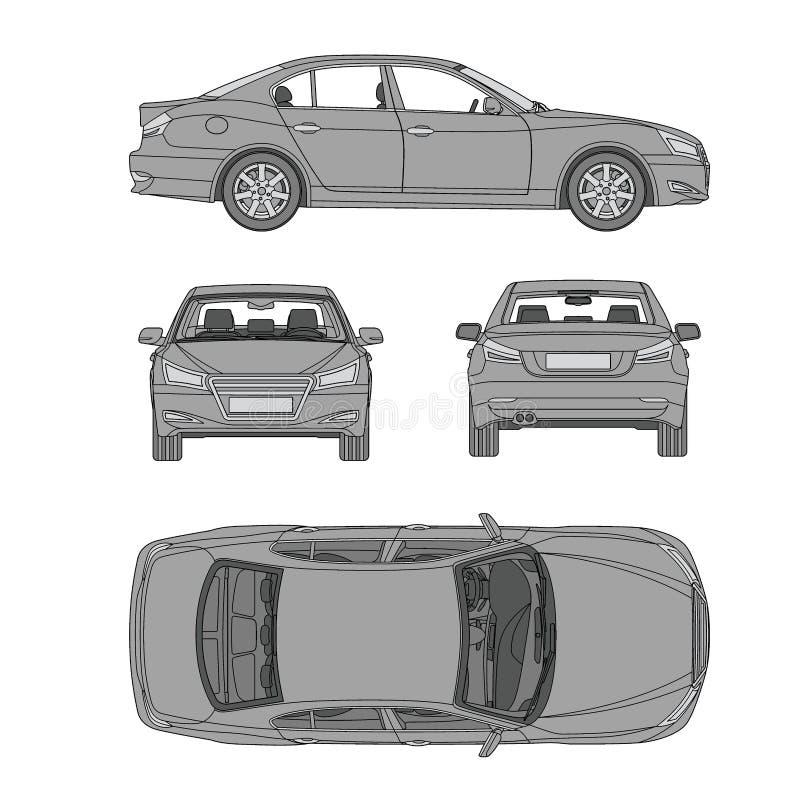 Samochód linii remis cztery wszystko przegląda odgórnej strony ubezpieczenie z powrotem, czynsz szkoda, warunek raportowej formy  ilustracji