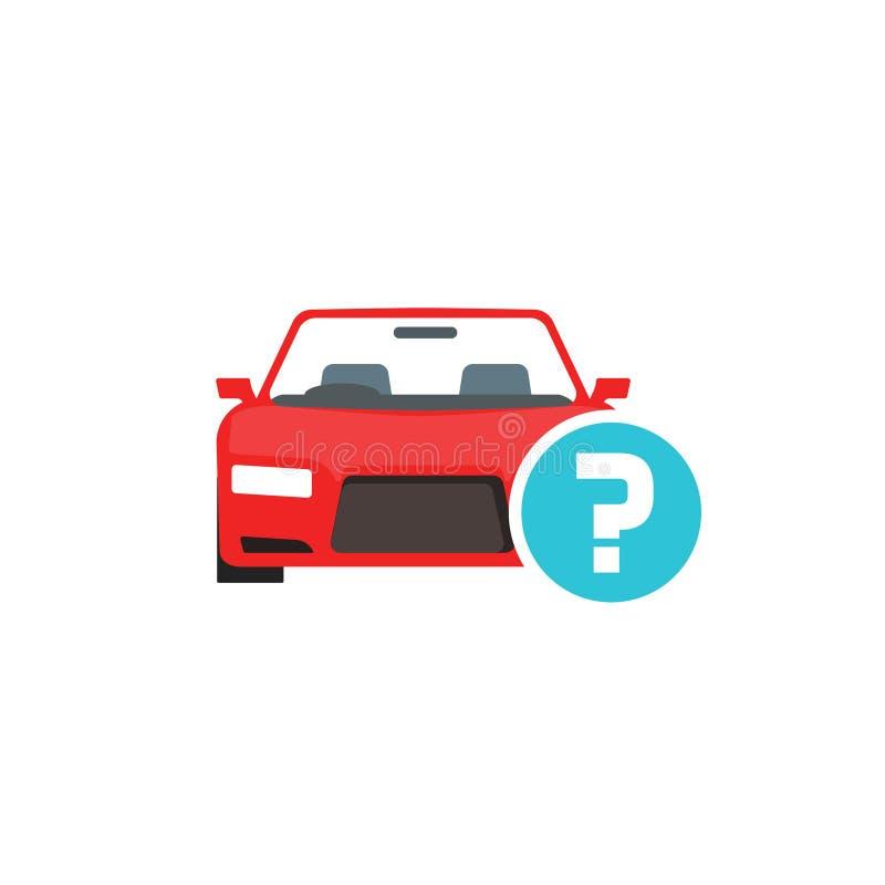 Samochód lub samochód z znak zapytania wektorowym symbolem, płaski kreskówka samochód z wątpliwość statusu ikoną odizolowywaliśmy royalty ilustracja