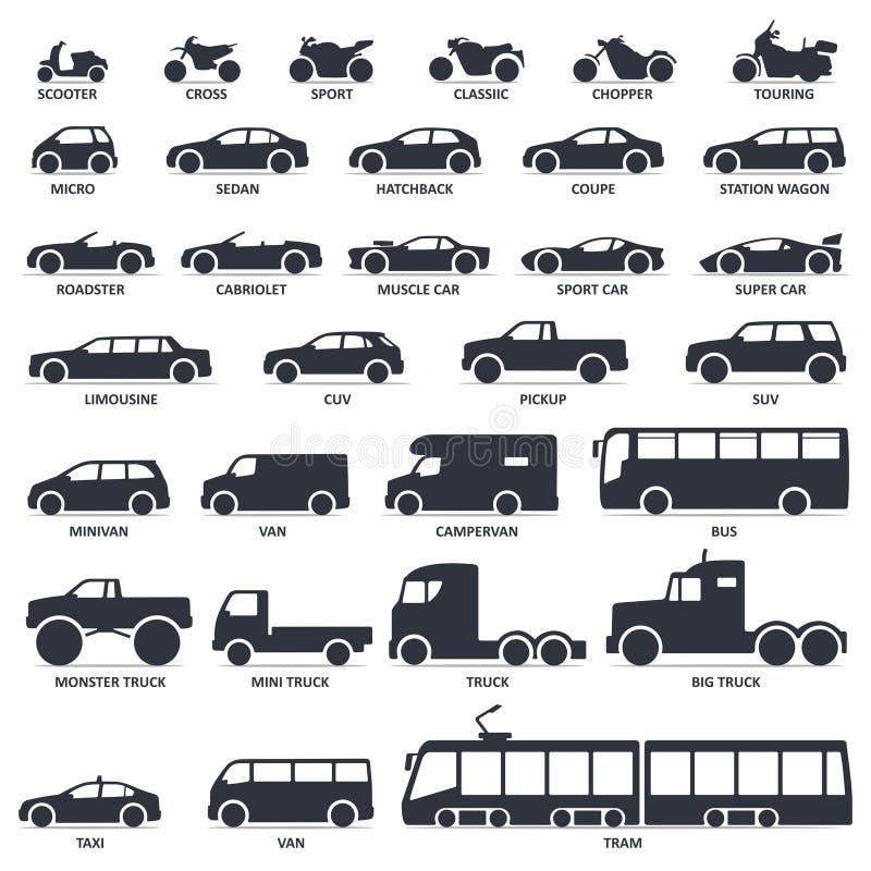 Samochód, motocykl i transport publiczny, pisać na maszynie ikony ustawiać Tytuł modeluje moto, samochód royalty ilustracja