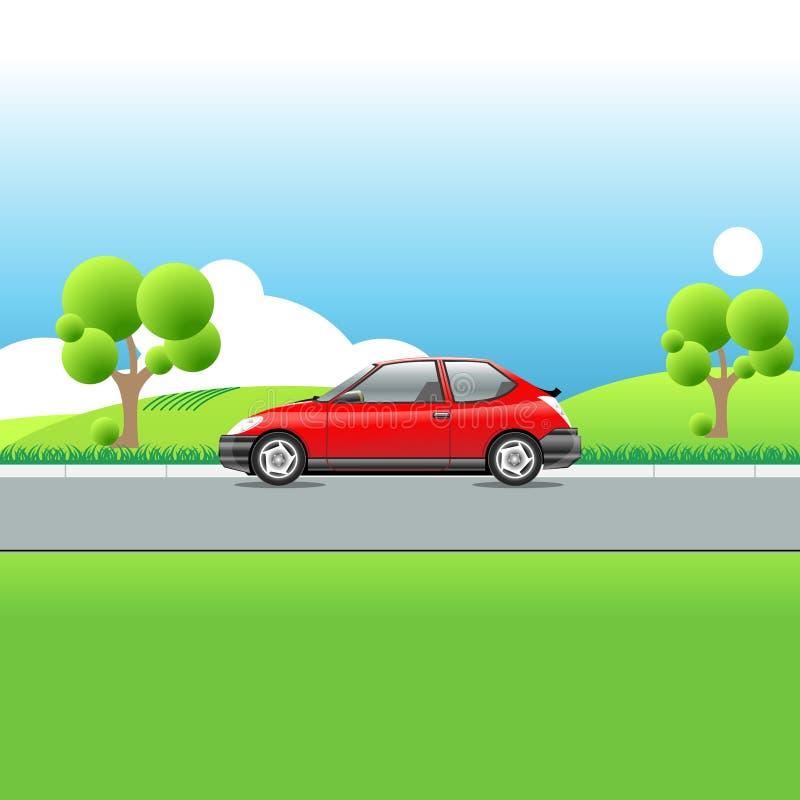 Samochód na wiejskiej drodze, wiosna krajobraz royalty ilustracja