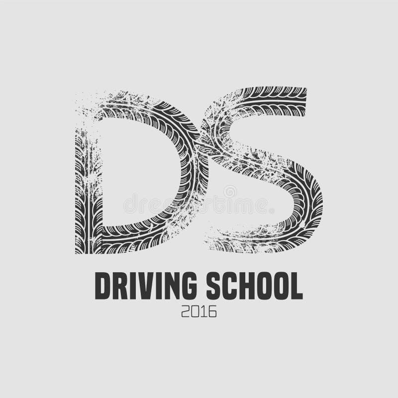 Samochód napędowej szkoły wektorowy logo, znak, emblemat royalty ilustracja