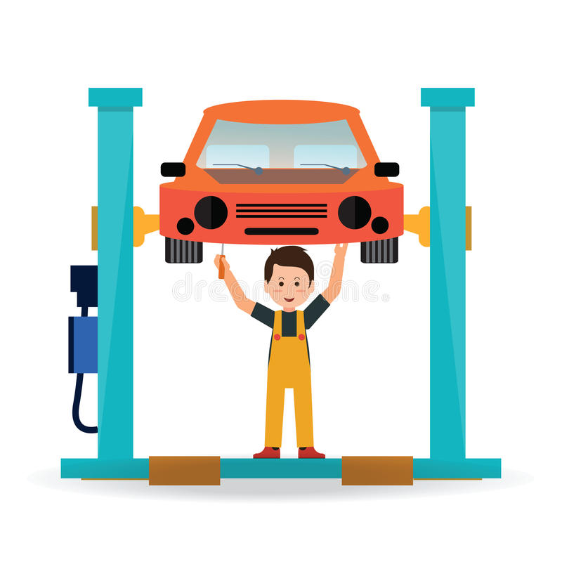 Samochód naprawa i usługa ilustracja wektor