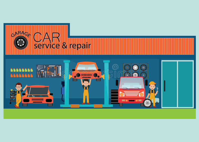 Samochód naprawa i usługa ześrodkowywamy lub garażujemy z pracownikiem ilustracji