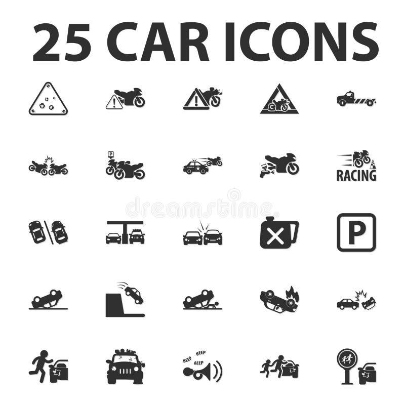 Samochód, naprawia 25 czarnych prostych ikon ustawiających dla sieci royalty ilustracja