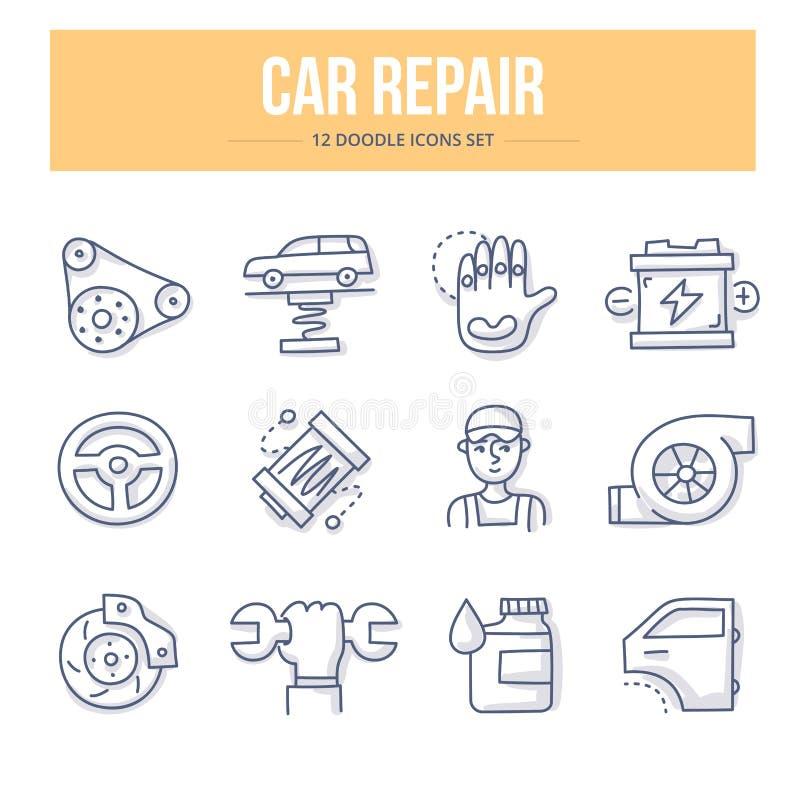 Samochód naprawy Doodle ikony royalty ilustracja