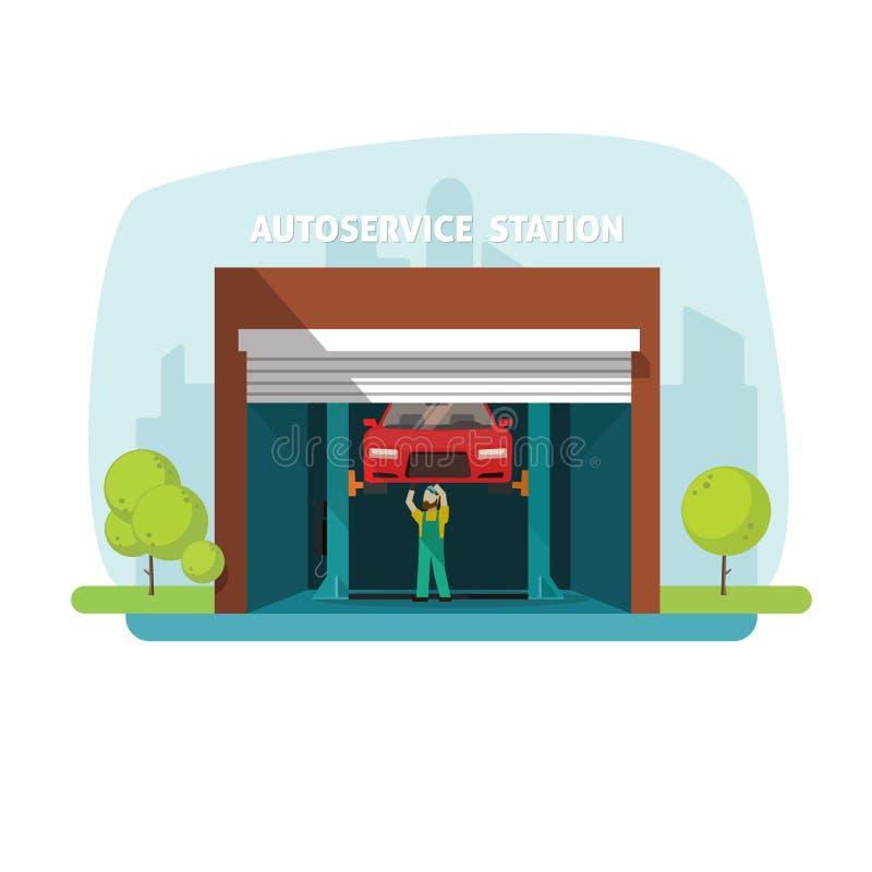 Samochód naprawy pomocy garaż, auto usługowy centrum z mechanika działaniem royalty ilustracja