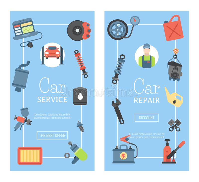 Samochód naprawy stacji sztandaru mechanika pojazdu garażu usługi wektoru auto ilustracja Transportu technik machinalny ilustracja wektor