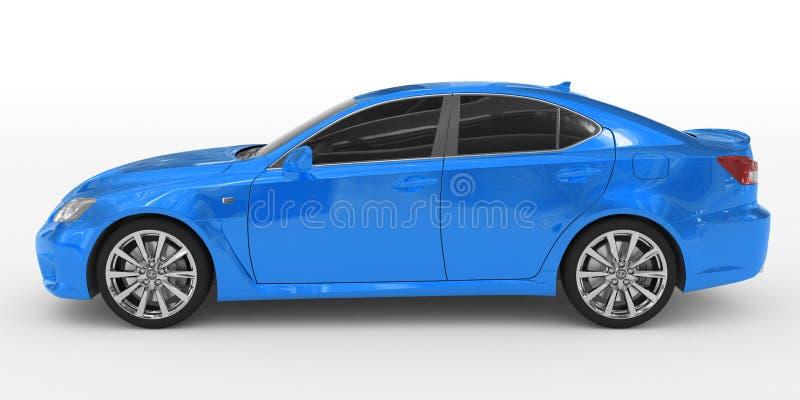 Samochód odizolowywający na bielu lewa strona rywalizuje - błękitna farba, zabarwiający szkło - zdjęcie royalty free