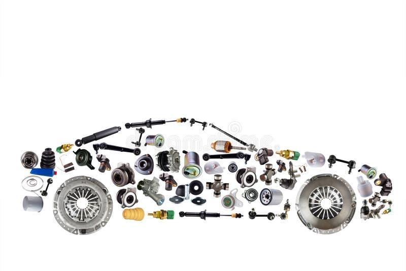 Samochód osobowy gromadzić od nowych dodatkowych auto części dla sklepowego aftermarket zdjęcie stock