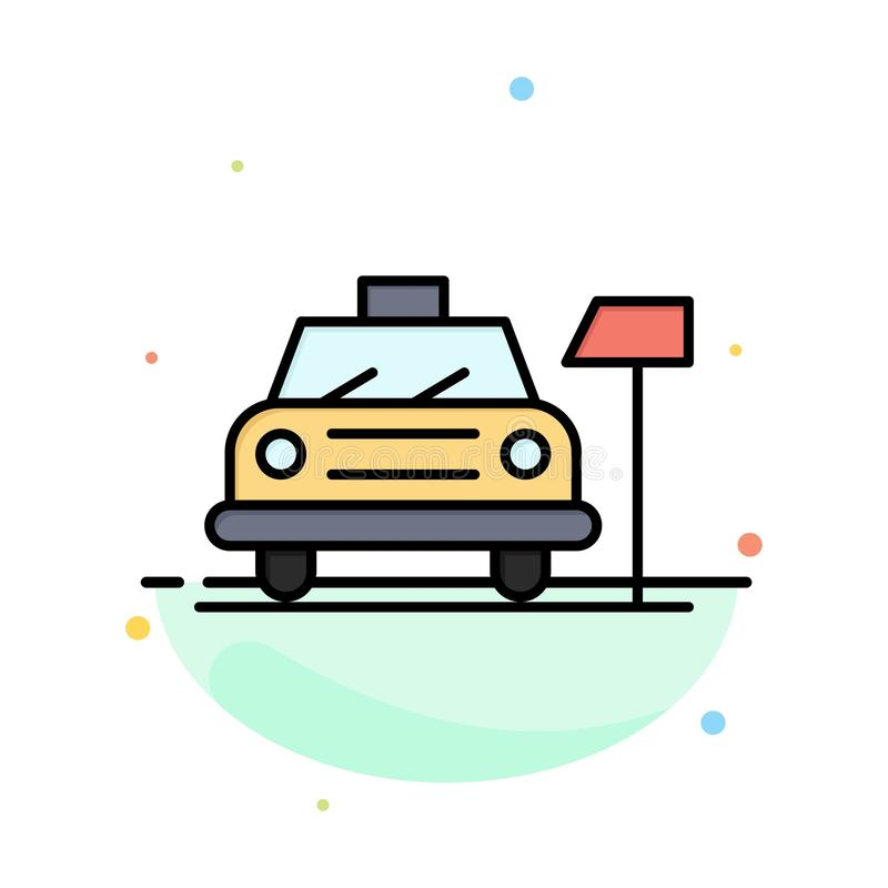 Samochód, parking, hotel, Usługowy Abstrakcjonistyczny Płaski kolor ikony szablon royalty ilustracja