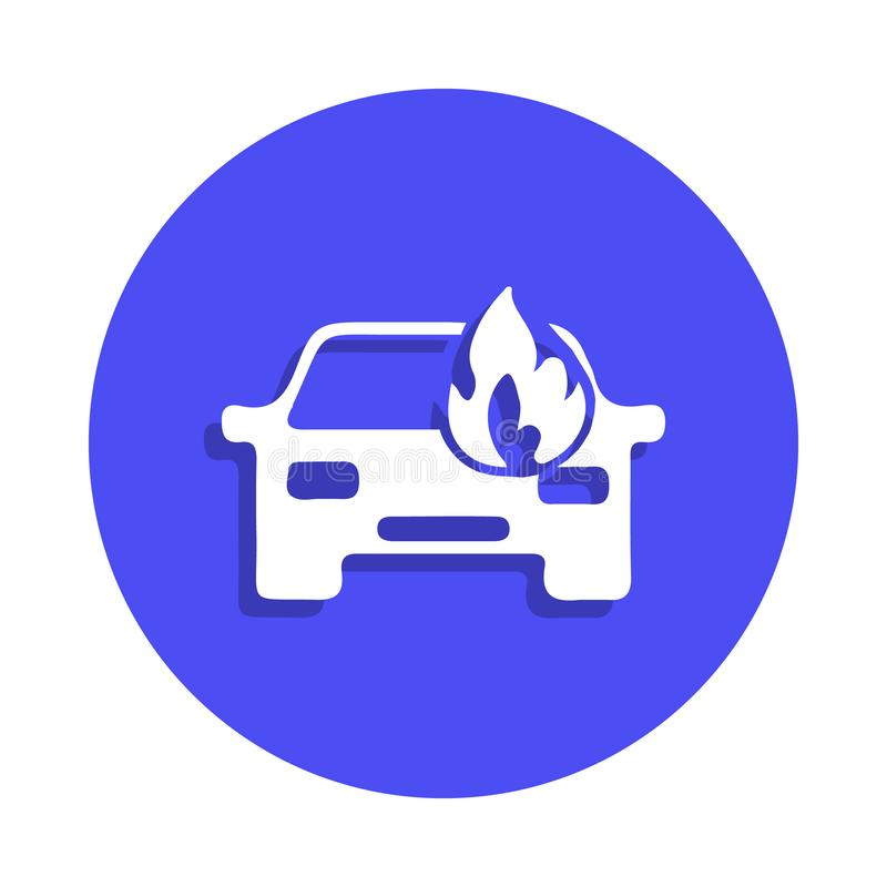 samochód podpalająca ikona w odznaka stylu Jeden ogienia strażnika inkasowa ikona może używać dla UI, UX royalty ilustracja