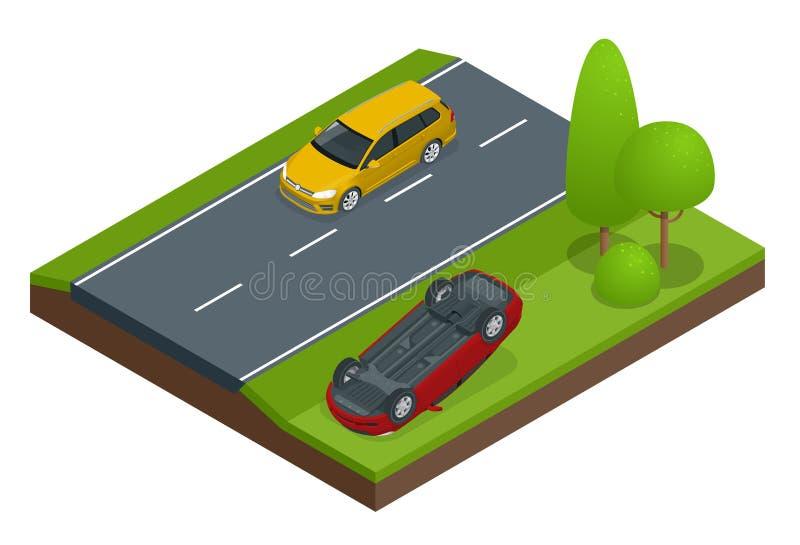 Samochód podrzucający Samochód obracający po wypadku Pojazd podrzucał na dachu tła samochodowy ilustracyjny ubezpieczenia wektoru royalty ilustracja
