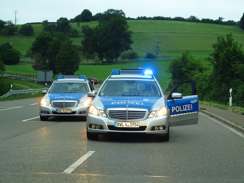 Samochód policyjny barykady autostrada zdjęcie royalty free