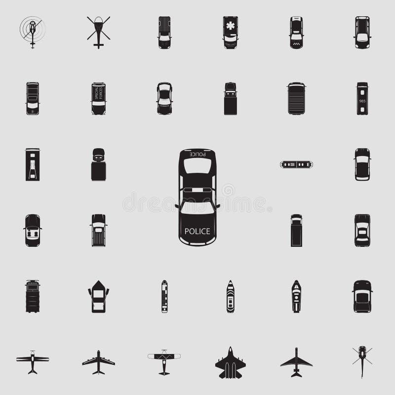 Samochód policyjny ikona Przewieziony widok od above ikony ogólnoludzkiego ustawiającego dla sieci i wiszącej ozdoby ilustracja wektor