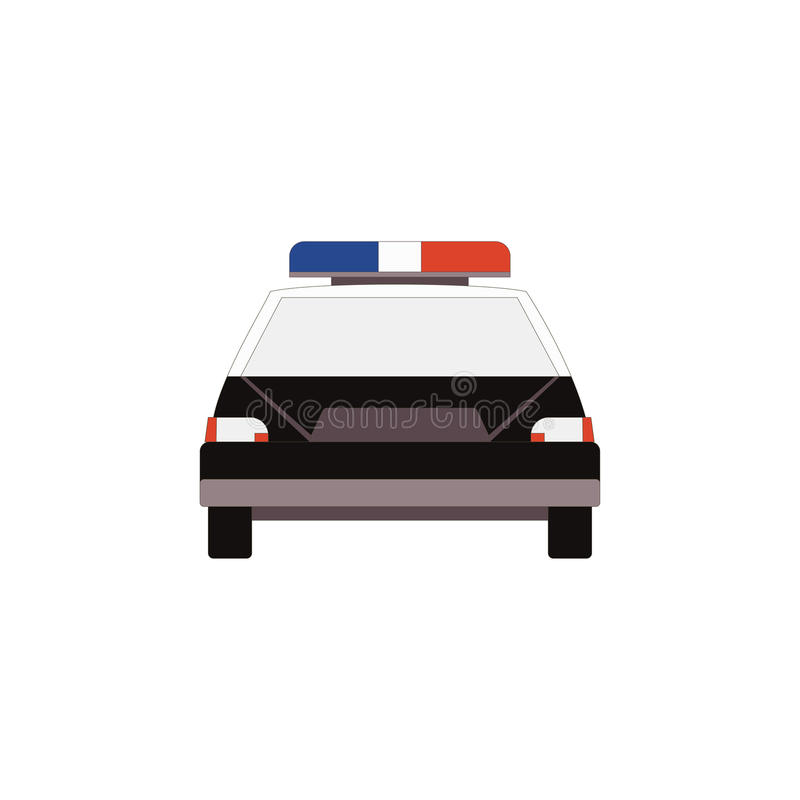 Samochód policyjny ikony frontowy widok w mieszkanie stylu dla UI UX projekta wektor royalty ilustracja