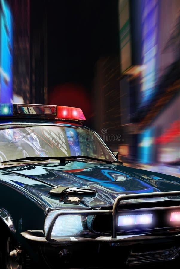 Samochód policyjny przy nocą ilustracja wektor