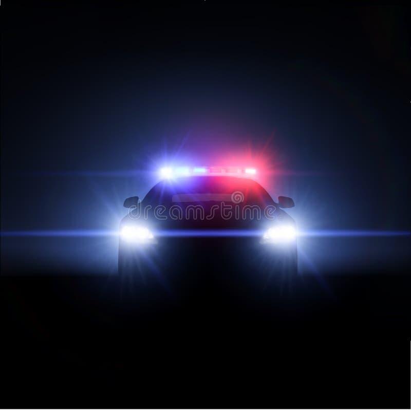 Samochód policyjny z pełnym szykiem światła. ilustracja wektor