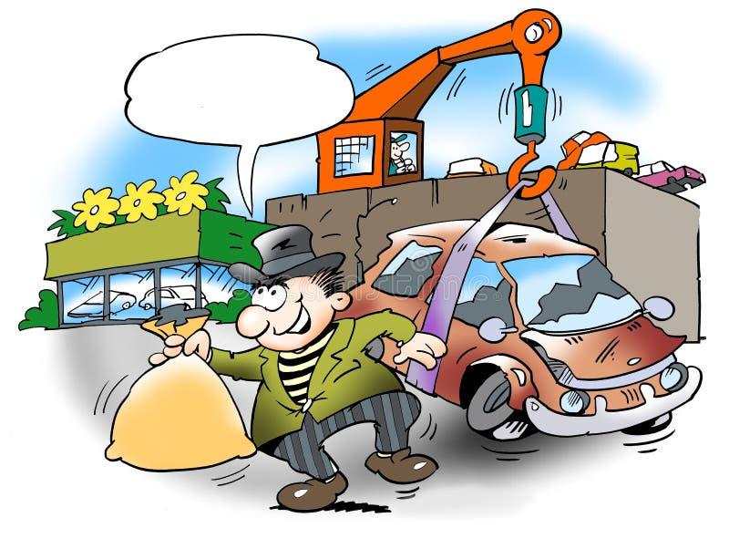 Samochód przeznaczać do rozbiórki dla pieniądze ilustracji