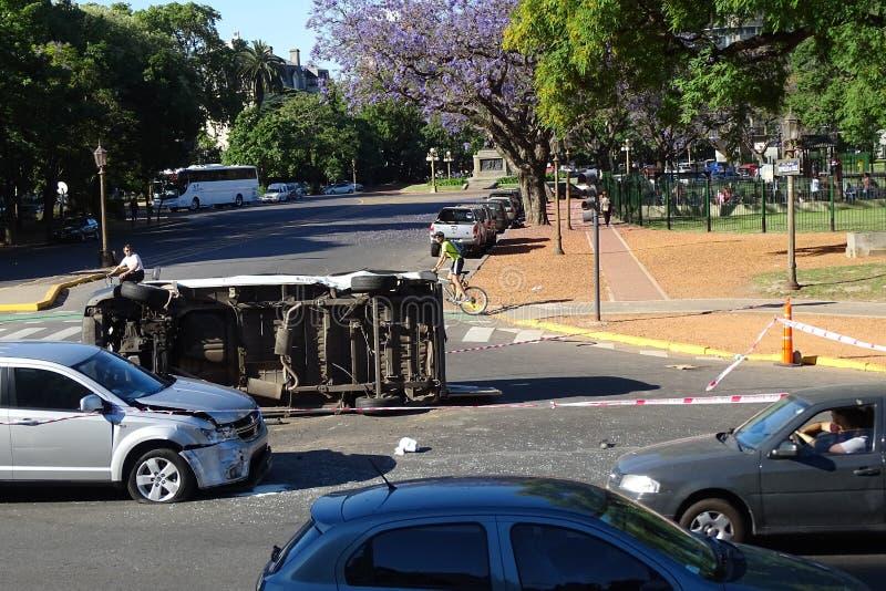 Samochód rozbijał w drodze od Buenos Aires, Argentyna zdjęcie royalty free