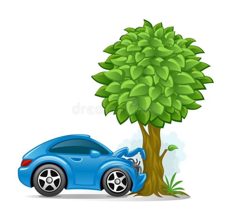 Samochód rozbijał w drzewo ilustracja wektor