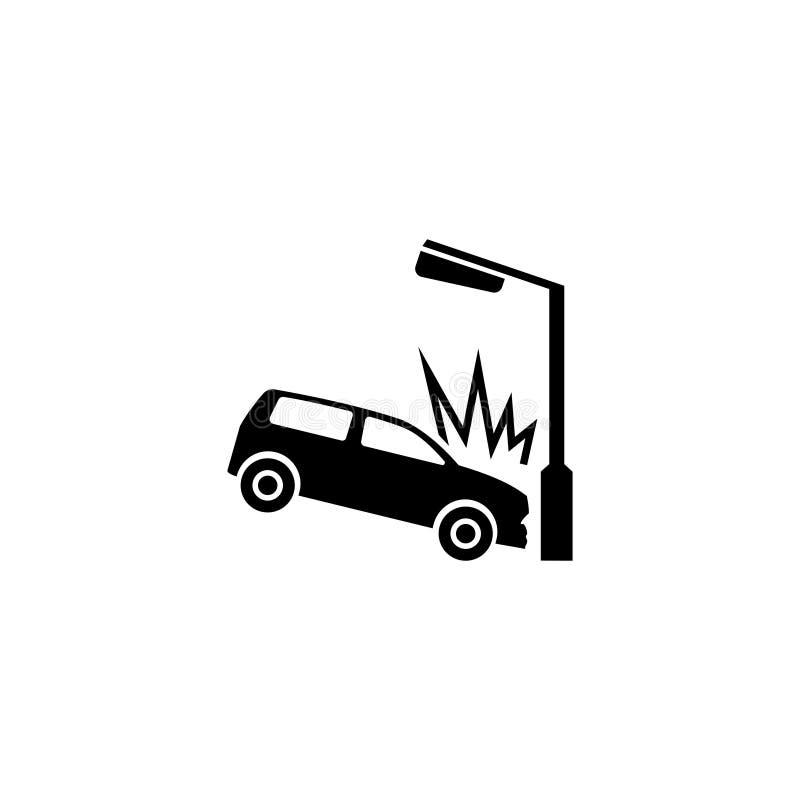 Samochód Rozbijał w latarni Płaską Wektorową ikonę ilustracji