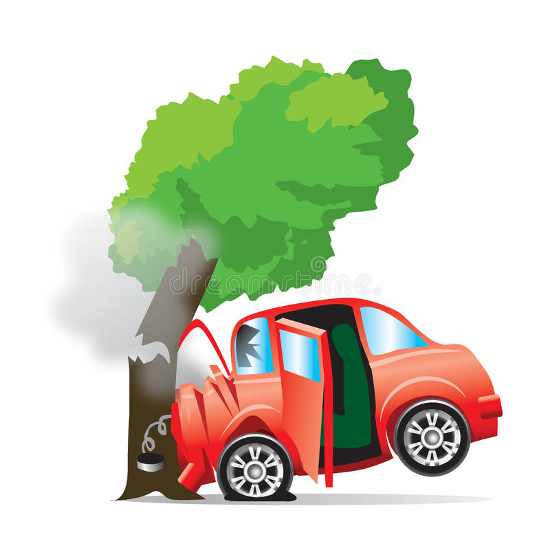 samochód rozbijający drzewo ilustracja wektor
