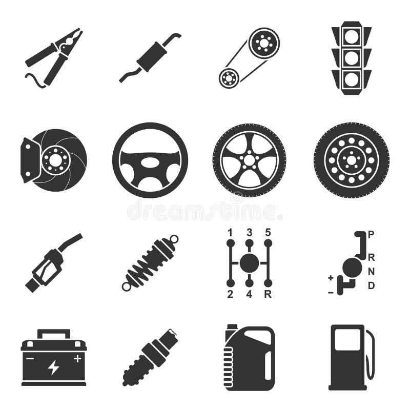 Samochód rozdziela ikony ilustracja wektor
