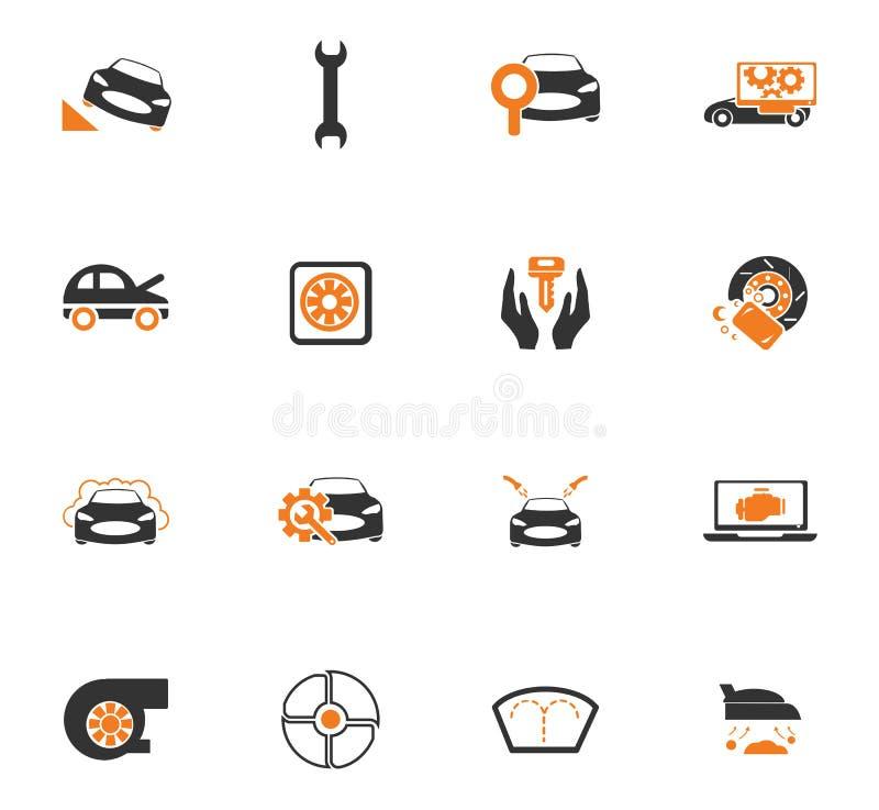 Samochód sklepowe ikony ustawiać ilustracja wektor