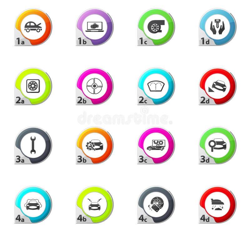 Samochód sklepowe ikony ustawiać ilustracji