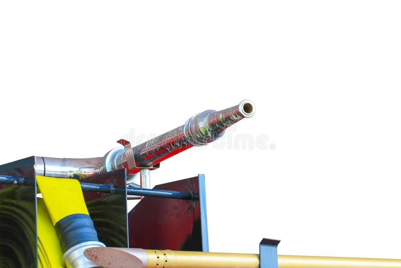 Samochód Strażacki czerwień i nozzle woda odizolowywająca na białej ścieżce tła i ścinku obrazy royalty free