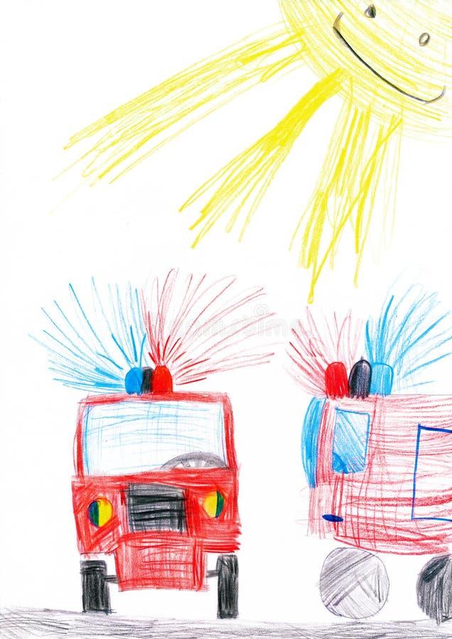 Samochód strażacki. dziecko rysunek. ilustracji