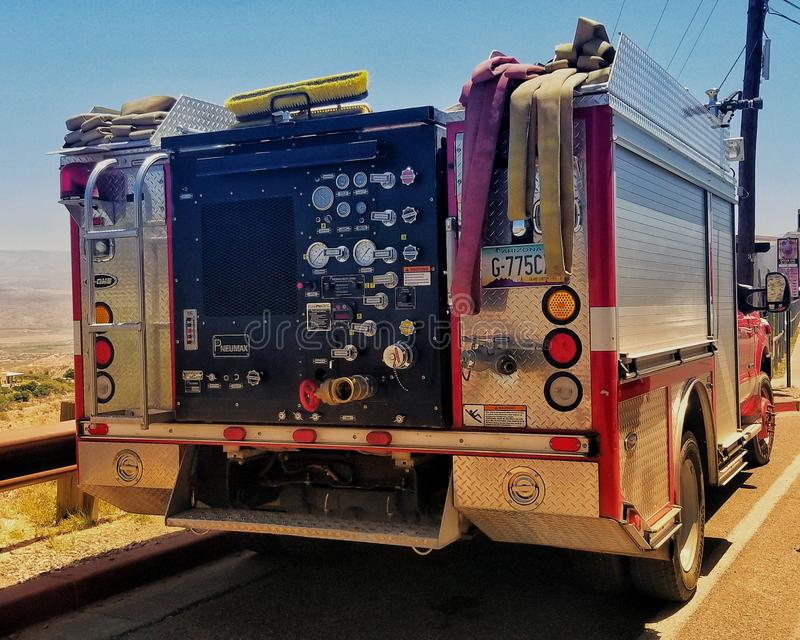 Samochód strażacki na pośpiechu fotografia stock