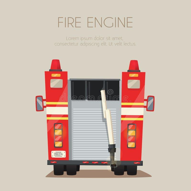 Samochód strażacki na pośpiechu chłopiec kreskówka zawodzący ilustracyjny mały wektor ilustracja wektor