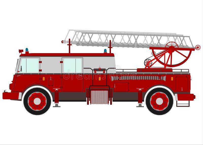 Samochód strażacki z drabiną. ilustracji