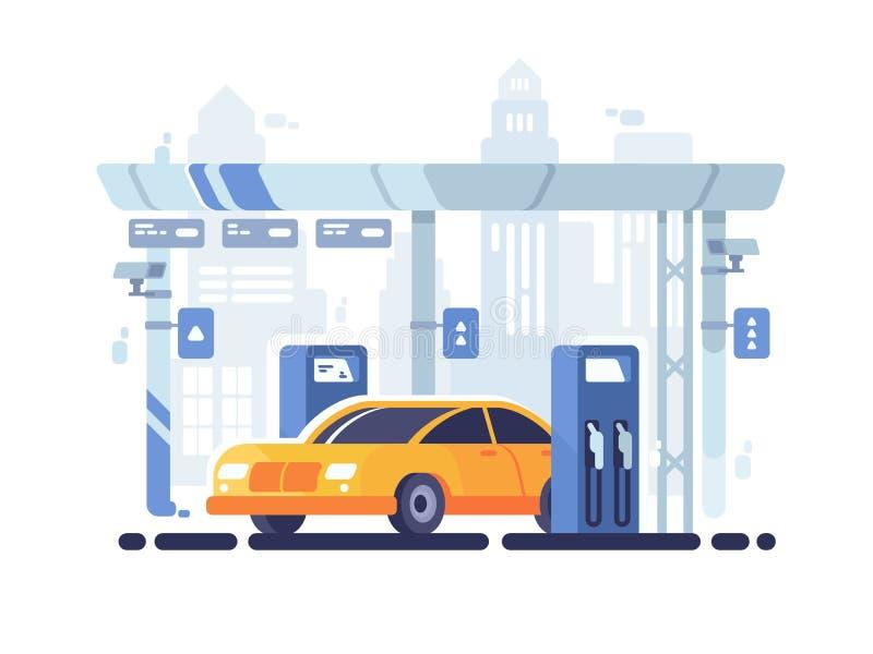 Samochód tankujący przy benzynową stacją ilustracji