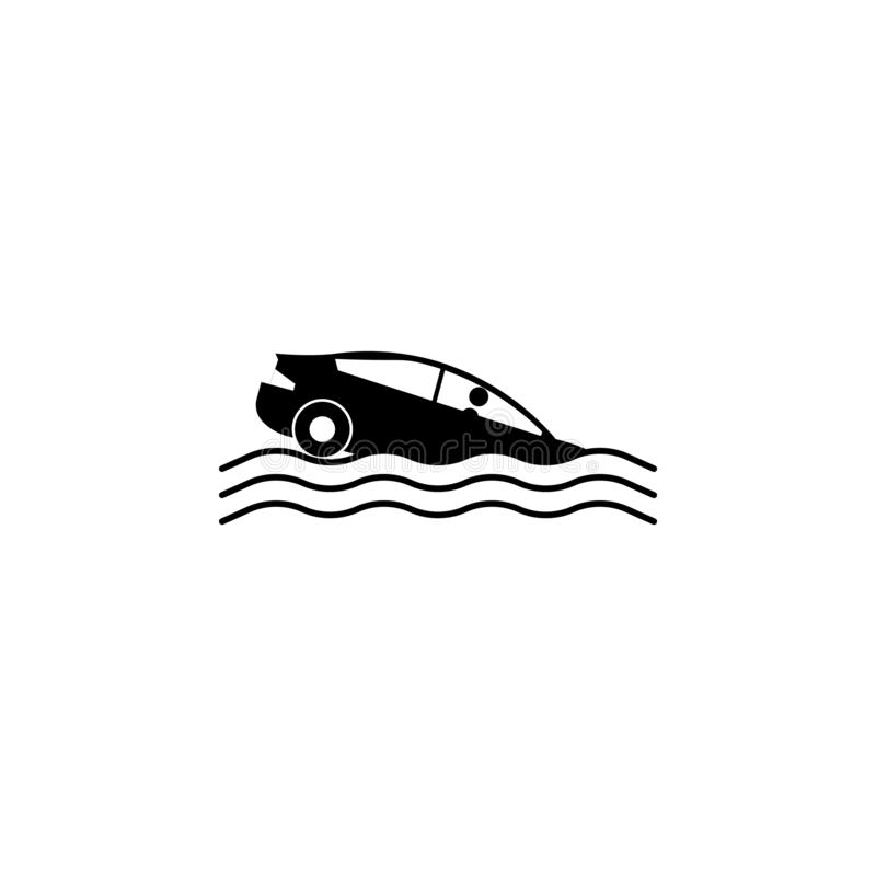 samochód, trzask, wodna ikona Element wypadku samochodowego, parking ikona dla mobilnych apps i Szczegółowy samochód, trzask, wod royalty ilustracja
