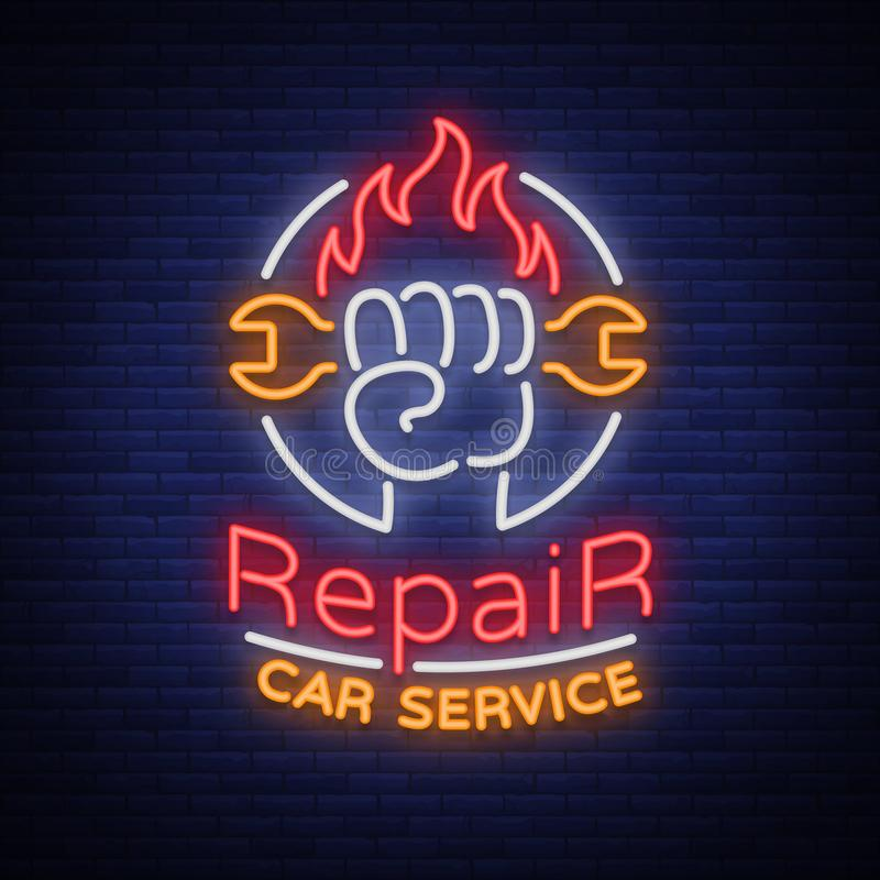 Samochód usługa naprawy loga wektor, neonowego znaka emblemat Wektorowa ilustracja, samochód naprawa, błyszczący signboard dla ga ilustracji