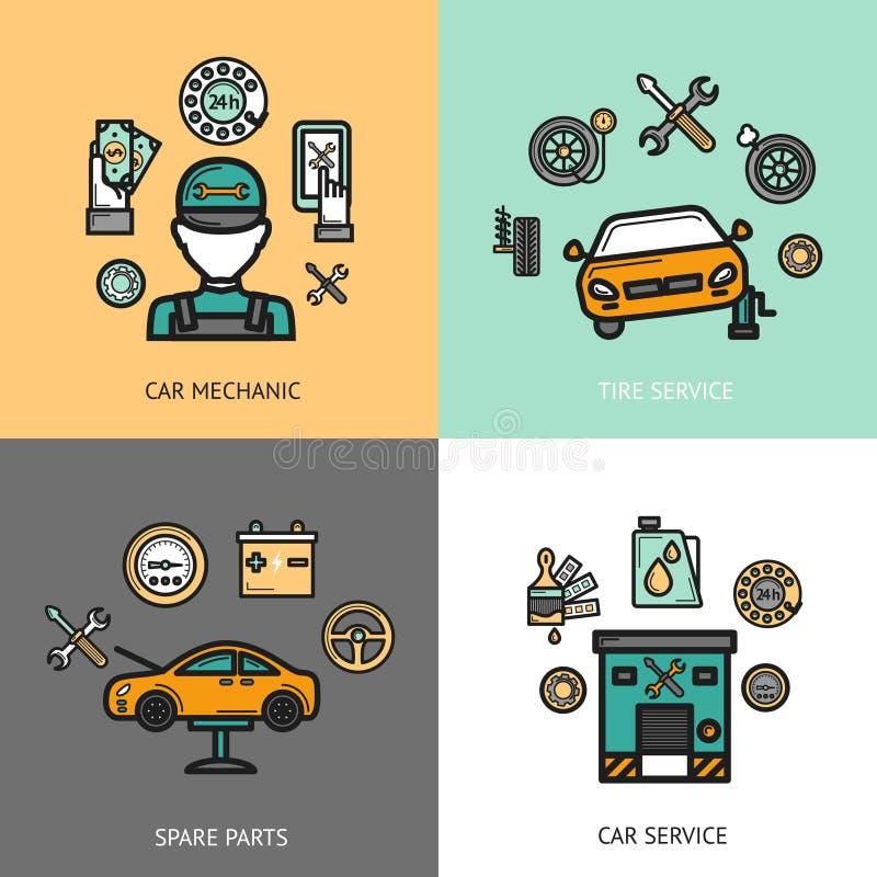 Samochód usługa set royalty ilustracja