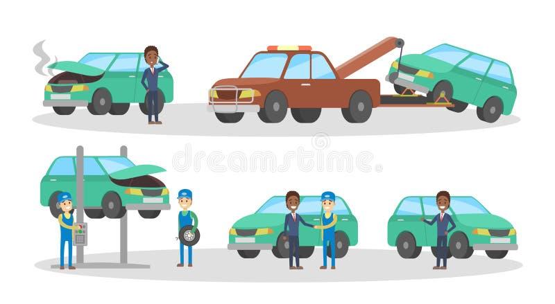 Samochód usługa set Mechanicy naprawiają łamanego samochód royalty ilustracja