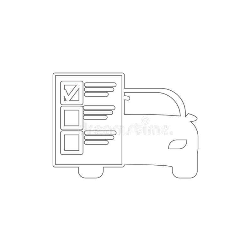 samochód usługi listy konturu ikona Elementy samoch?d naprawy ilustracji ikona Znaki i symbole mog? u?ywa? dla sieci, logo, mobil ilustracji