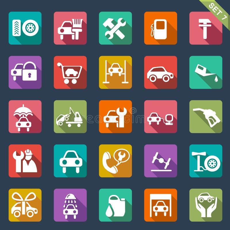 Samochód usługowa ikona ustawiająca - płaski projekt ilustracja wektor